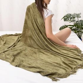 Плед Этель 125*150см, цв. оливковый, акрил, 100% полиэстер