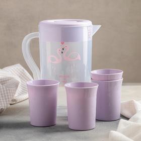 Набор питьевой, 5 предметов: кувшин 2 л, 4 стакана, цвет МИКС Ош