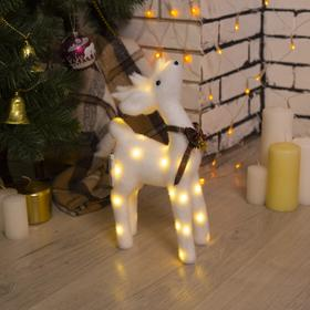 "Фигура световая ""Белый олень"", 18 LED, 30х16х9 см, фиксинг, от батар. (не в компл)"