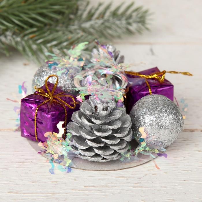 Подсвечник на одну свечу Мишура волна шишки, шарик, подарки 7,5х3,5 см, отв d-2 см