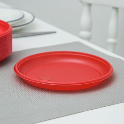 Тарелка одноразовая десертная, d=16,5 см, цвет красный, 100 шт/уп