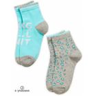 Носки для девочек, размер 14/16, цвет серый/изумрудный