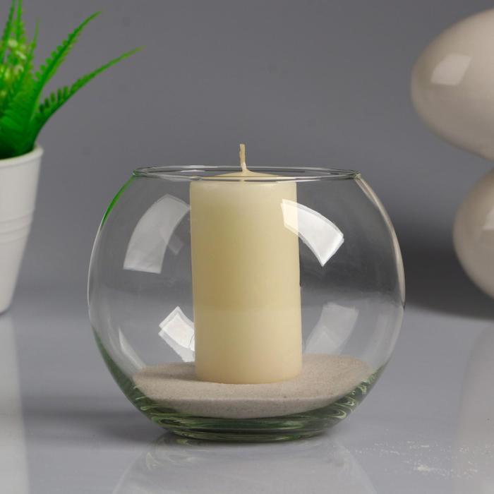 """Ваза-шар """"Классика"""" с белой свечой, 12×10 см, 9 ч, стекло"""