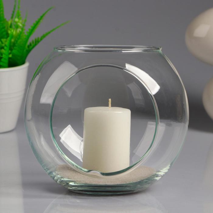 """Ваза-шар """"МАТЕ"""" с двумя отверстиями и белой свечой, 14,5×13 см, 9 ч, стекло"""