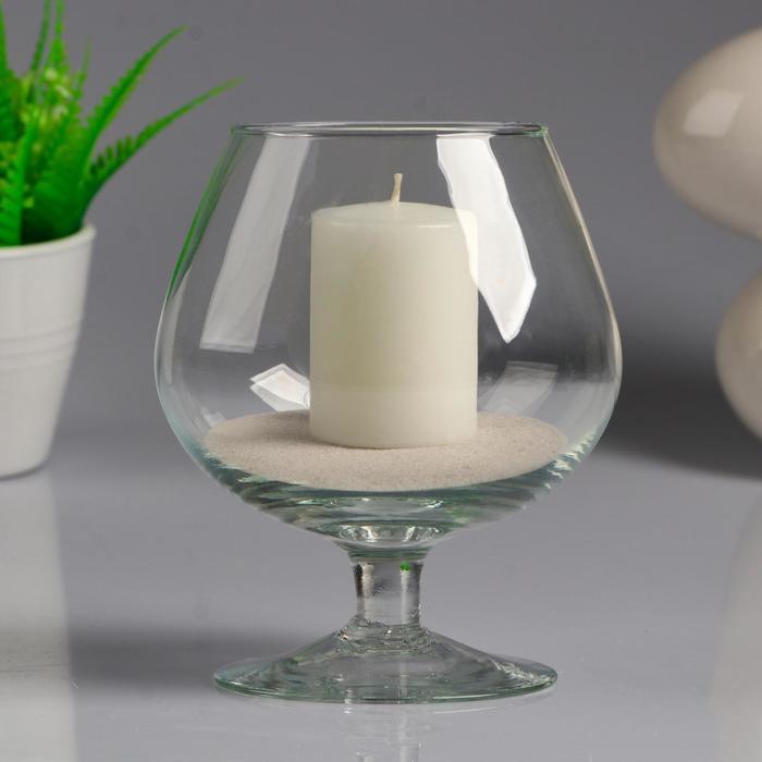 Ваза-бренди на низкой ножке с белой свечой, 11,5×13,8 см, 9 ч, стекло