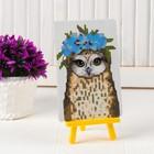 Алмазная вышивка с частичным заполнением «Совушка с венком из цветов», с подставкой, размер картины: 10 ? 15 см
