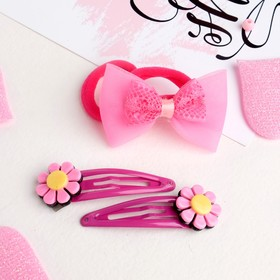 Набор для волос 'Малютка' цветочки (2 невидимки, 2 резинки) Ош