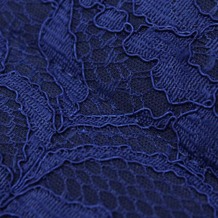 Комбинированный материал, стежка с кружевом, ширина 131 см, цвет тёмно - синий