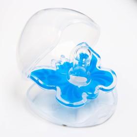 Пустышка цельносиликоновая, «Бабочка», контейнер, классическая, от 0 мес., цвет голубой