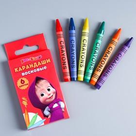 Восковые карандаши Маша и медведь , набор 6 цветов, высота 1 шт - 8 см, диаметр 0,8 см