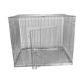 Клетка для собак с мет. поддоном, 50 х 70 х 55 см, шагрень светлое серебро Ош