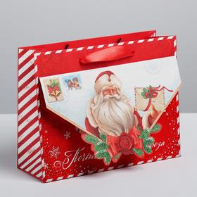 Пакет подарочный горизонтальный «Почта Деда Мороза», MS 23 × 18 × 8 см Ош