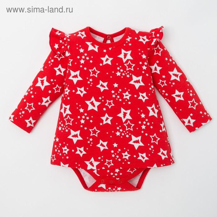 """Платье Крошка Я """"Новогодний Пингвинчик"""", красный, р.22, рост 62-68"""