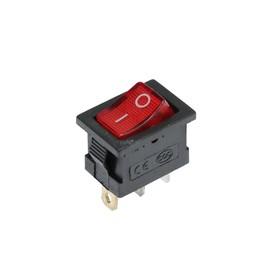 Клавишный выключатель, 250 В, 6 А, ON-OFF, 3с, красный, с подсветкой Ош