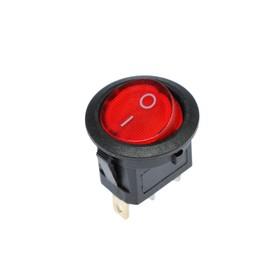 Клавишный выключатель круглый, 250 В, 6 А, ON-OFF, 3с, красный, с подсветкой Ош