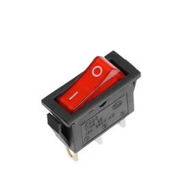 Клавишный выключатель, 250 В, 15 А, ON-OFF, 3с, красный, с подсветкой Ош