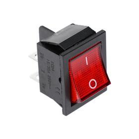 Клавишный выключатель, 250 В, 15 А, ON-OFF, 4с, красный, с подсветкой Ош