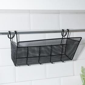 Полка подвесная «Лофт», 37×17×22 см, 5 крючков, цвет чёрный