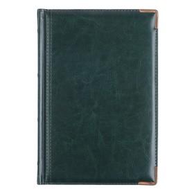 Ежедневник полудатированный А5+, 208 листов Boss, искусственная кожа, золотой срез, 2 ляссе, зелёный Ош