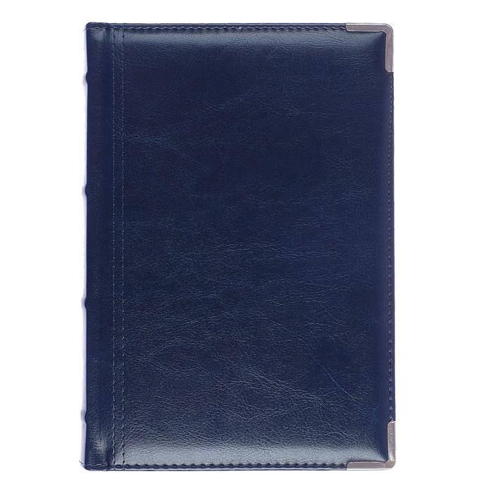 Ежедневник полудатированный А5+, 208 листов Boss, искусственная кожа, серебряный срез, 2 ляссе, синий