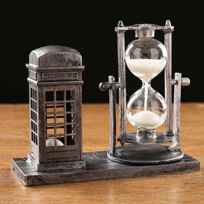 Часы песочные Красная будка, с подсветкой, 15.5х6.5х12.5 см