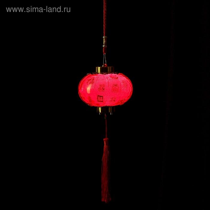 "Сувенир пластик свет ""Китайский фонарик - иероглифы"" от батареек 2хAG13 11х12х12 см"