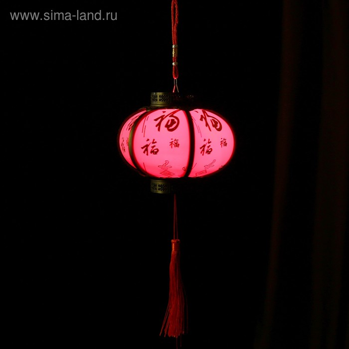 "Сувенир пластик свет ""Китайский фонарик - иероглифы"" от батареек 2хААА 15х16х16 см"