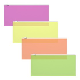 Папка-конверт на гибкой молнии Zip Erich Krause Fizzy Neon, Travel, микс