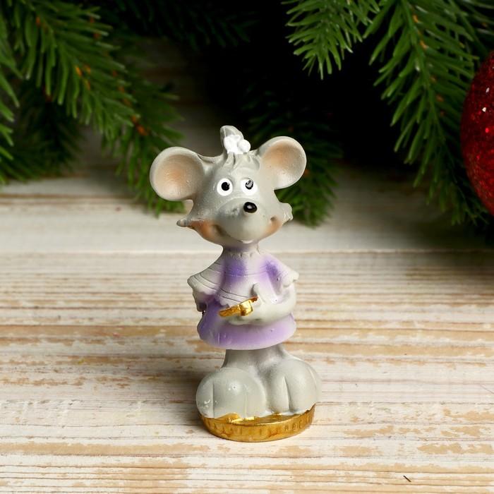 Сувенир полистоун Мышка Врединка с монетками 6,5х3,8х3,2 см