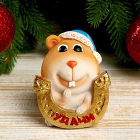 Копилка полистоун 'Пухлый хомячок в новогоднем колпаке с подковой - Удачи' 8,1х6,4х7,2 см Ош