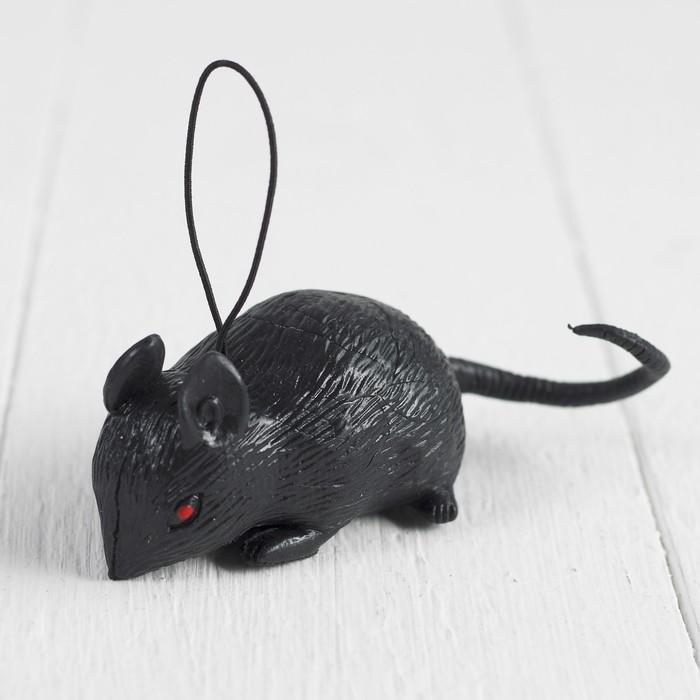 Прикол Мышь, резиновая, цвет чёрный