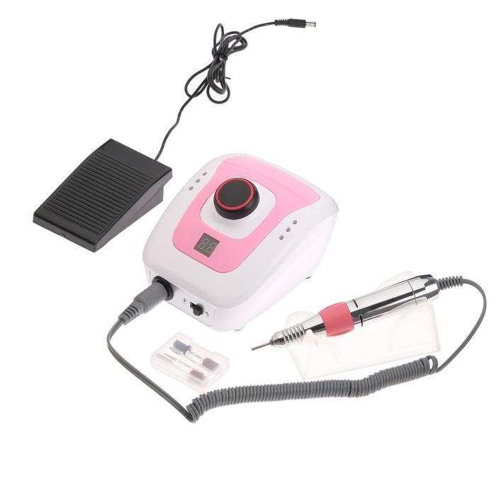 Аппарат для маникюра и педикюра JessNail DM-206, 4 насадки, 35 000 об/мин, бело-розовый