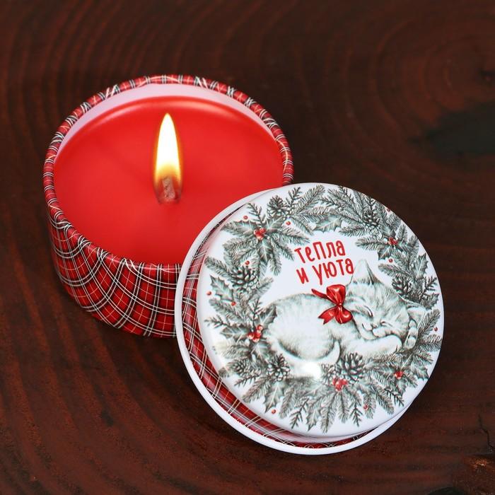 Новогодняя свеча «Тепла и уюта», в железной банке