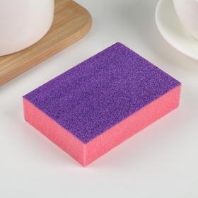 Губка чистящая со скрабером, 10×7×2,5 см, цвет МИКС