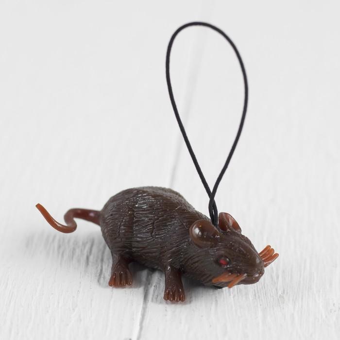 Прикол Мышь, резиновая, цвет коричневый
