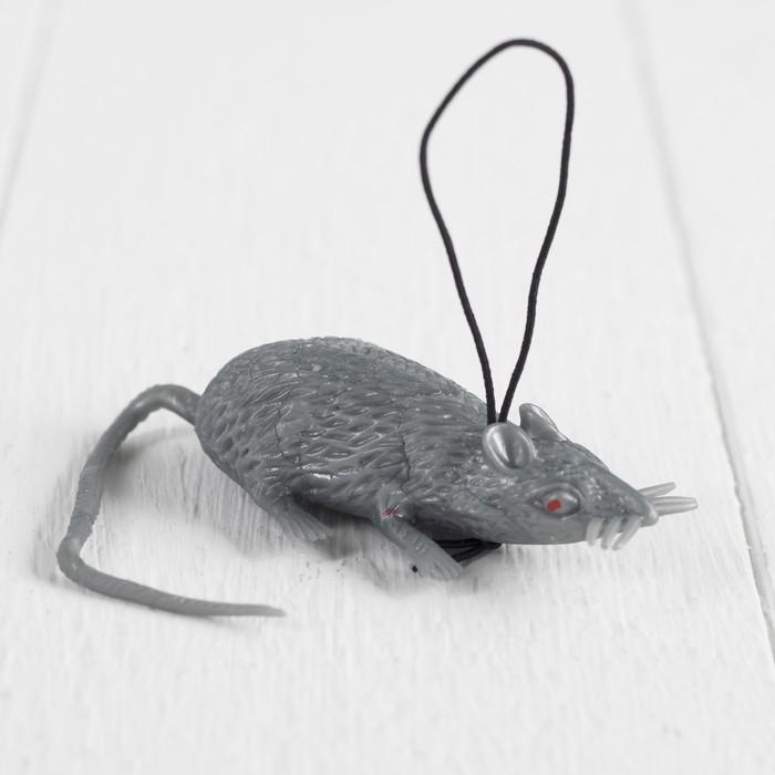 Прикол Мышь, резиновая, цвет серый