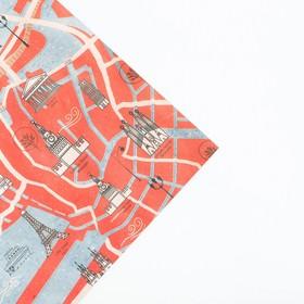 Бумага упаковочная крафтовая «Путешествие», 50 × 70 см Ош