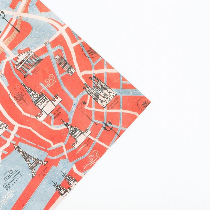 Бумага упаковочная крафтовая Путешествие, 50 70 см