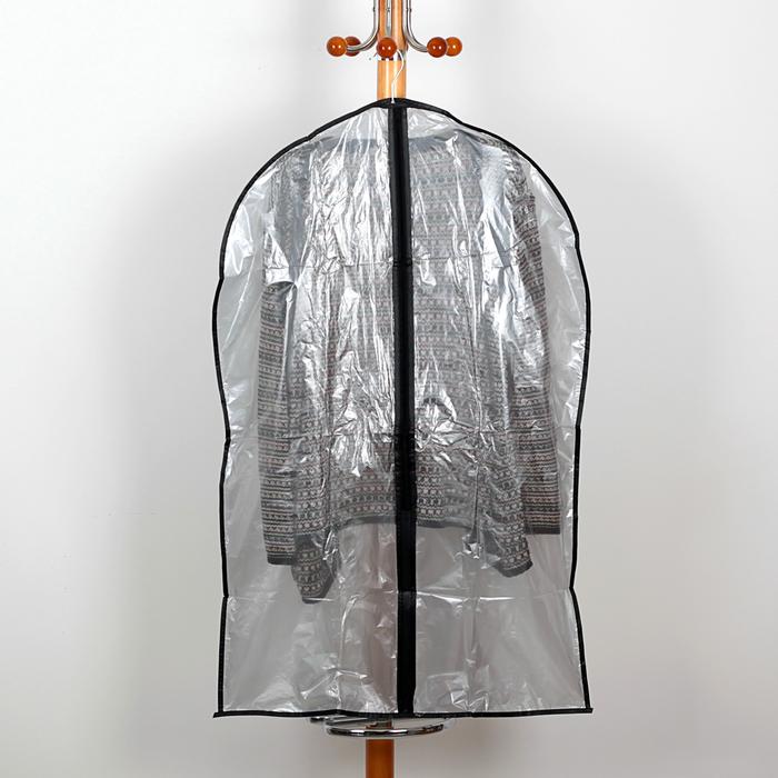 Чехол для одежды 6090 см, PE, цвет серый прозрачный