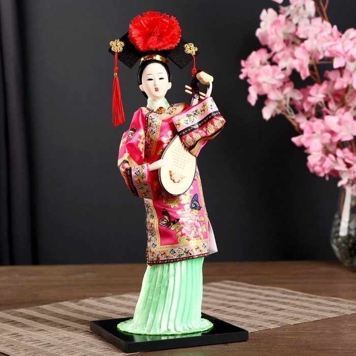 Кукла коллекционнаяКитаянка в национ. платье с муз.инструмен. - пипойМИКС 32х12,5х12,5см