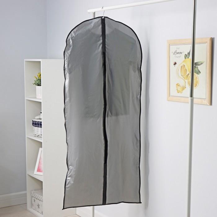 Чехол для одежды плотный 60×160 см, PEVA, цвет серый