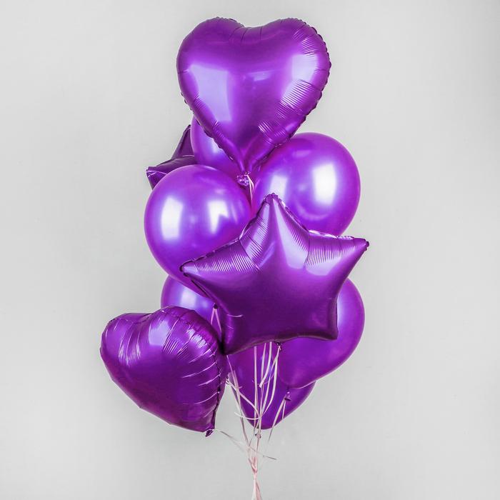 Букет из шаров «Хром», фольга, латекс, набор 14 шт, цвет фиолетовый