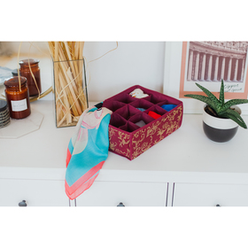 Органайзер для белья «Бордо», 12 ячеек, 32×24×12 см, цвет бордовый Ош