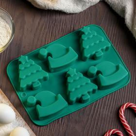 Форма для выпечки Доляна «Новый год. Ёлка и Дед мороз», 25×17 см, 6 ячеек, цвет МИКС