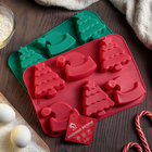 Форма для выпечки Доляна «Новый год. Ёлка и Дед мороз», 25×17 см, 6 ячеек, цвет МИКС - Фото 3