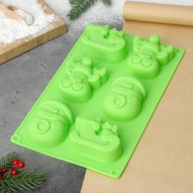 Форма для выпечки Доляна «Новый год», 29×17 см, 6 ячеек (8×7×3 см), цвет МИКС