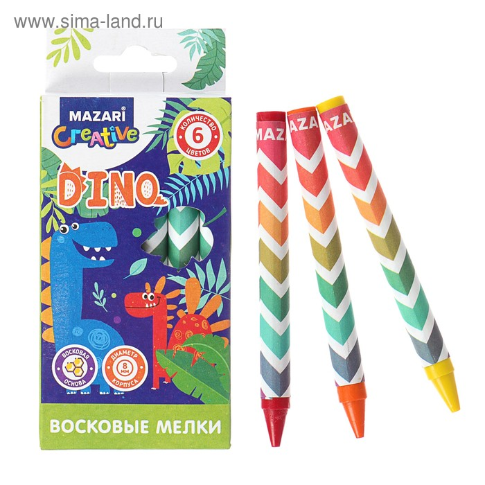 Мелки восковые 6 цветов DINO, круглые, длина = 89 мм, d корпуса = 8 мм, в картонной коробке