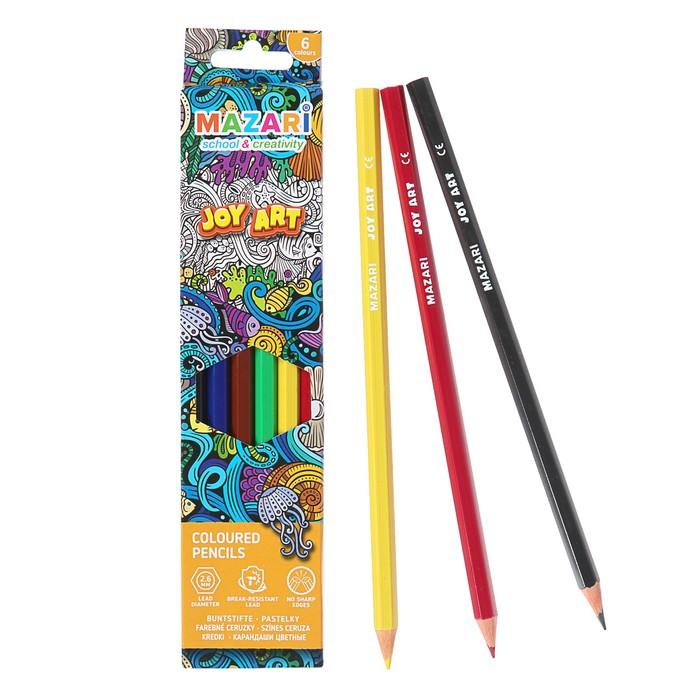 Карандаши цветные пластиковые 6 цветов JOY ART, шестигранные, d грифеля =2.6 мм, в картонной коробке