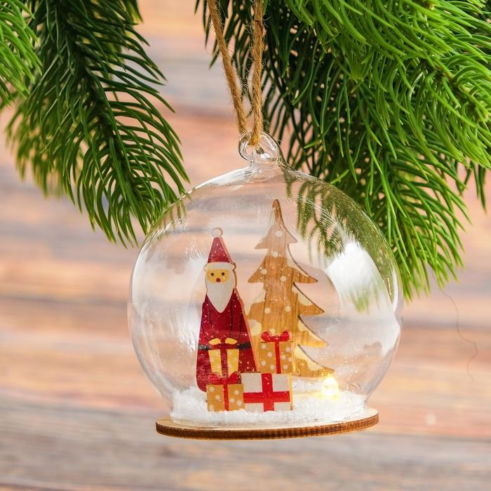 Декор с подсветкой в стекле «Праздничный шар» 8×8×7 см