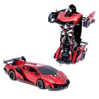 Робот-трансформер радиоуправляемый Lamborghini Veneno, работает от аккумулятора, цвет красный